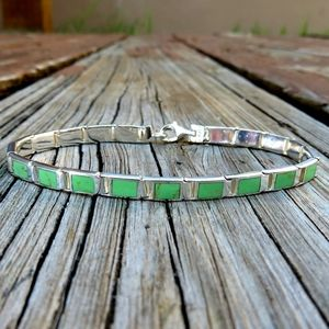Vintage 925 Natural Gaspeite Link Bracelet
